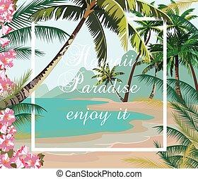 Tropical Exotic Paradise Beach. Summer Beach with Palm trees...