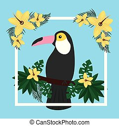 tropical exotic toucan bird on tree branch flowers
