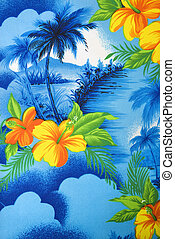 Tropical fabric detail. - Close-up of bright blue Hawaiian...