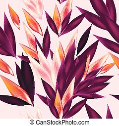 Tropical fashion vector pattern with foliage