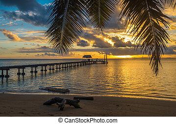 tropical, feriado, muelle, paisaje, isla