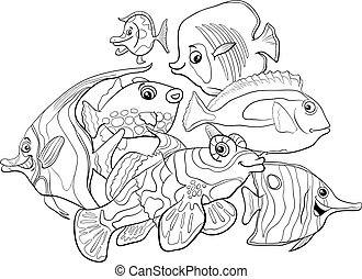 tropical fish animal characters coloring book