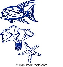 Tropical fish, coral and starfish. Vector illustration on...