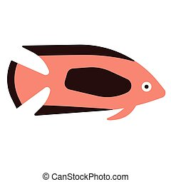 tropical fish flat illustration on white