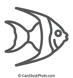 Tropical fish line icon, animal and underwater, aquatic sign vector graphics, a linear pattern on a white background, eps 10.