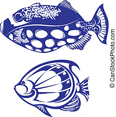 Tropical Fish. Set #5. Vector illustration on white...