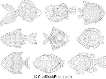 Tropical Fish Set Adult Zentangle Coloring Book Illustration