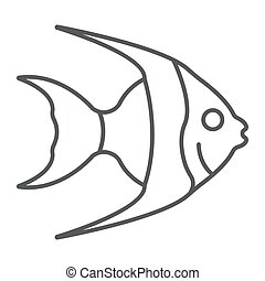 Tropical fish thin line icon, animal and underwater, aquatic sign vector graphics, a linear pattern on a white background, eps 10.