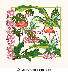 Tropical Flamingo birds and Flowers Background