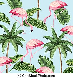 tropical flamingos animal and palm background