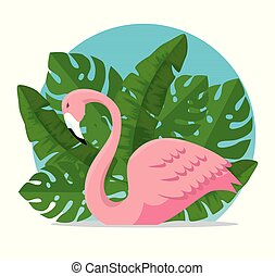 tropical flemish with exotic leaves plants vector illustration