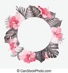 Tropical flower frame.