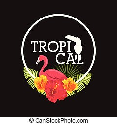 tropical flower leaves animal card - tropical flamingo...