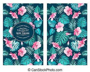 Tropical flower pattern. - Tropical flower pattern on the...