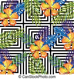 tropical flower with abstract background desktop computer isolated icon