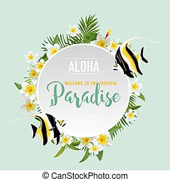 Tropical Flowers and Exotic Fish Background. Summer Design in Vector. T-shirt Fashion Graphic.