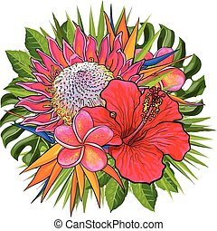 Tropical flowers and green leaves in decorative floral composition in form of circle.