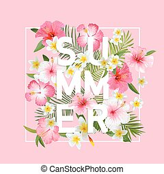 Tropical Flowers and Leaves Background. Summer Design....