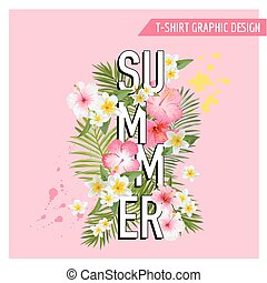 Tropical Flowers and Leaves Background. Summer Design. Vector. T-shirt Fashion Graphic.