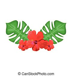 tropical flowers and leaves, colorful design