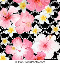 Tropical Flowers and Leaves Geometric Background - Vintage Seamless Pattern - in vector