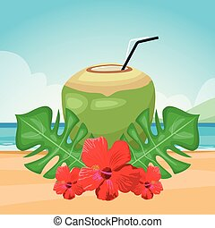 tropical flowers and leaves with coconut drink over beach background