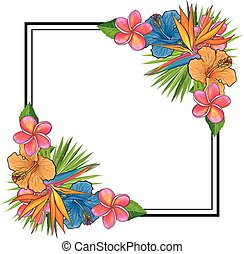 Tropical flowers and palm leaves bouquet elements at corners of square shape with copy space.