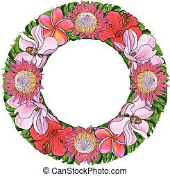Tropical flowers and palm leaves in floral composition in form of circle isolated on white background.