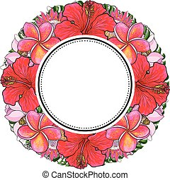 Tropical flowers and palm leaves in floral composition in round form with sticker on top.