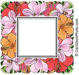 Tropical flowers and palm leaves in floral composition in square form with sticker-copy space on top.