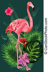 Tropical Flowers Background. Summer Design. Flamingo. T-shirt Fashion Graphic. Exotic.