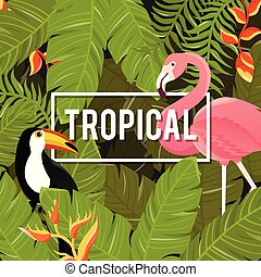 Tropical Flowers Background. Summer Design. Vector.