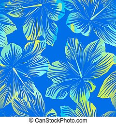 Tropical flowers blue seamless pattern with watercolour...
