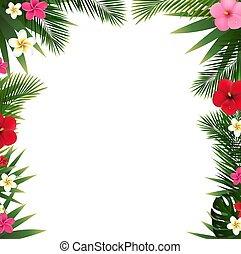 Tropical Flowers Border And Beach