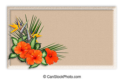 Image and illustration composition of tropical flowers over crackled background for stationery, greeting card, luau wedding invitation, beauty spa label, with copy space.