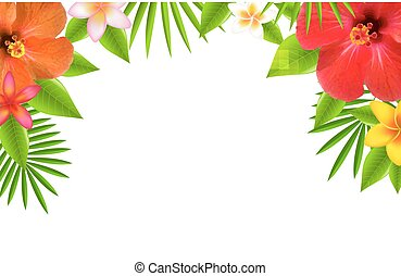 Tropical Flowers Border, With Gradient Mesh, Vector...