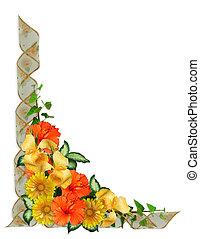 Tropical flowers border