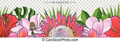 Tropical flowers border seamless pattern in sketch style on transparent background.