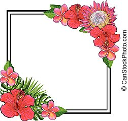 Tropical flowers bouquet elements at corners of square shape with copy space.