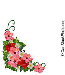 Image and illustration composition of tropical flowers, hibiscus, plumeria and coleus for wedding, luau background or invitation border with copy space