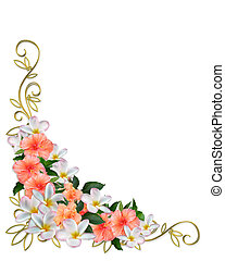 Image and illustration composition Hibiscus, plumeria, floral border corner design for card, party, wedding, anniversary invitation or background with copy space, gold, accents,