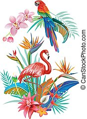 Tropical Flowers Flamingoes and Parrots