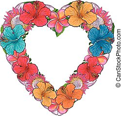 Tropical flowers in floral composition in form of heart isolated on white background in sketch style.