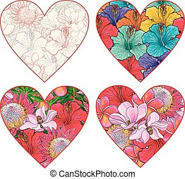 Tropical flowers in form of heart vector set in sketch style isolated on white background.