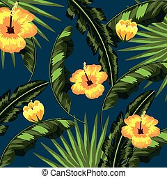 tropical flowers natural leaves background