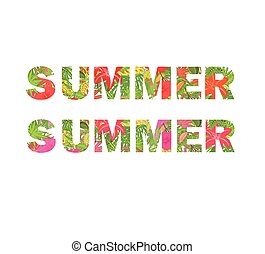 Tropical flowers print with summer lettering