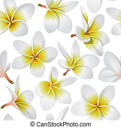 Tropical flowers seamless pattern - Frangipani (Plumeria) ...