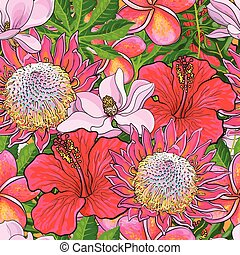 Tropical flowers seamless pattern with hand drawn exotic blooms with palm leaves.