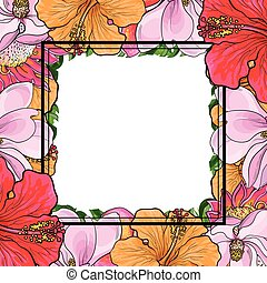Tropical flowers square frame in sketch style isolated on white background.