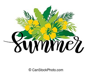 Tropical flowers vector illustration on watercolor imitation background with Big Summer Sale lettering quote. Banner, poster, web and print design